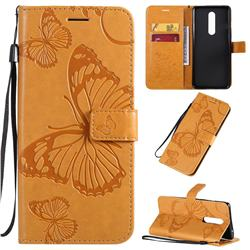 Embossing 3D Butterfly Leather Wallet Case for OnePlus 8 - Yellow