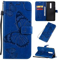 Embossing 3D Butterfly Leather Wallet Case for OnePlus 8 - Blue