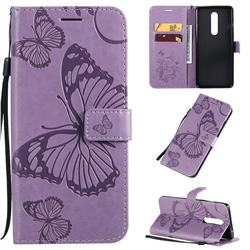 Embossing 3D Butterfly Leather Wallet Case for OnePlus 8 - Purple