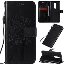Embossing Butterfly Tree Leather Wallet Case for OnePlus 8 - Black