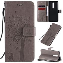 Embossing Butterfly Tree Leather Wallet Case for OnePlus 8 - Grey