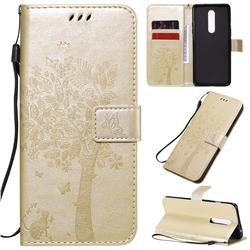 Embossing Butterfly Tree Leather Wallet Case for OnePlus 8 - Champagne