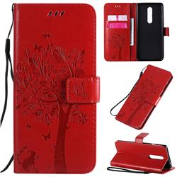 Embossing Butterfly Tree Leather Wallet Case for OnePlus 8 - Red