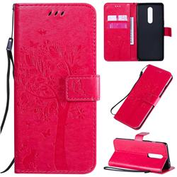Embossing Butterfly Tree Leather Wallet Case for OnePlus 8 - Rose