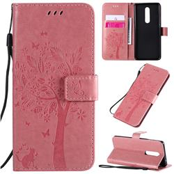 Embossing Butterfly Tree Leather Wallet Case for OnePlus 8 - Pink