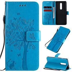 Embossing Butterfly Tree Leather Wallet Case for OnePlus 8 - Blue