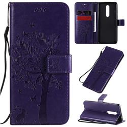 Embossing Butterfly Tree Leather Wallet Case for OnePlus 8 - Purple