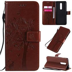 Embossing Butterfly Tree Leather Wallet Case for OnePlus 8 - Coffee