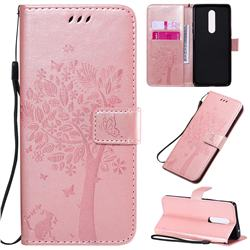 Embossing Butterfly Tree Leather Wallet Case for OnePlus 8 - Rose Pink