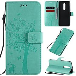 Embossing Butterfly Tree Leather Wallet Case for OnePlus 8 - Cyan