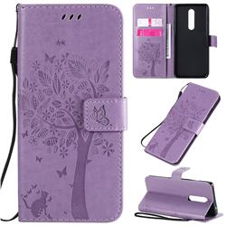 Embossing Butterfly Tree Leather Wallet Case for OnePlus 8 - Violet