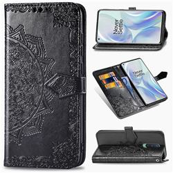 Embossing Imprint Mandala Flower Leather Wallet Case for OnePlus 8 - Black