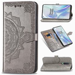 Embossing Imprint Mandala Flower Leather Wallet Case for OnePlus 8 - Gray