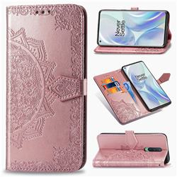 Embossing Imprint Mandala Flower Leather Wallet Case for OnePlus 8 - Rose Gold