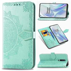 Embossing Imprint Mandala Flower Leather Wallet Case for OnePlus 8 - Green