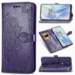 Embossing Imprint Mandala Flower Leather Wallet Case for OnePlus 8 - Purple