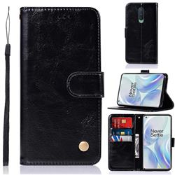 Luxury Retro Leather Wallet Case for OnePlus 8 - Black