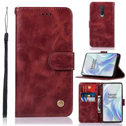 Luxury Retro Leather Wallet Case for OnePlus 8 - Wine Red