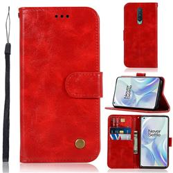 Luxury Retro Leather Wallet Case for OnePlus 8 - Red