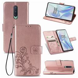 Embossing Imprint Four-Leaf Clover Leather Wallet Case for OnePlus 8 - Rose Gold