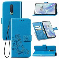 Embossing Imprint Four-Leaf Clover Leather Wallet Case for OnePlus 8 - Blue