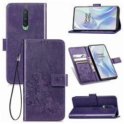 Embossing Imprint Four-Leaf Clover Leather Wallet Case for OnePlus 8 - Purple