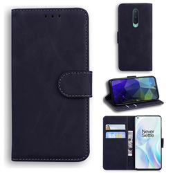 Retro Classic Skin Feel Leather Wallet Phone Case for OnePlus 8 - Black