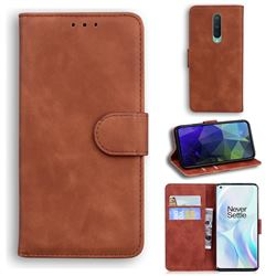 Retro Classic Skin Feel Leather Wallet Phone Case for OnePlus 8 - Brown