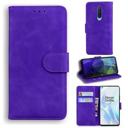 Retro Classic Skin Feel Leather Wallet Phone Case for OnePlus 8 - Purple