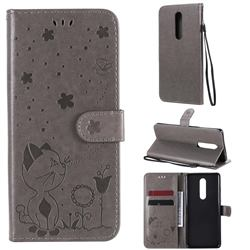 Embossing Bee and Cat Leather Wallet Case for OnePlus 8 - Gray