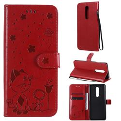 Embossing Bee and Cat Leather Wallet Case for OnePlus 8 - Red