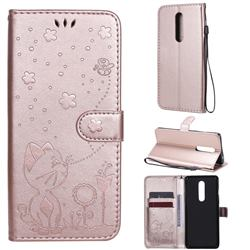 Embossing Bee and Cat Leather Wallet Case for OnePlus 8 - Rose Gold