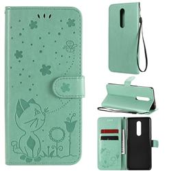 Embossing Bee and Cat Leather Wallet Case for OnePlus 8 - Green