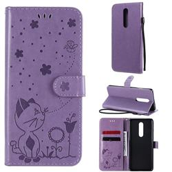 Embossing Bee and Cat Leather Wallet Case for OnePlus 8 - Purple