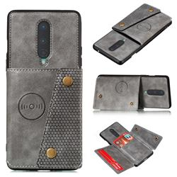 Retro Multifunction Card Slots Stand Leather Coated Phone Back Cover for OnePlus 8 - Gray