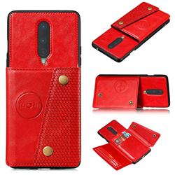 Retro Multifunction Card Slots Stand Leather Coated Phone Back Cover for OnePlus 8 - Red
