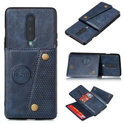 Retro Multifunction Card Slots Stand Leather Coated Phone Back Cover for OnePlus 8 - Blue