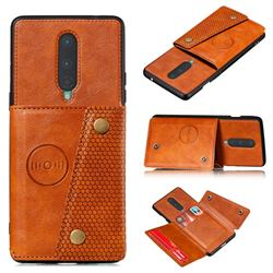 Retro Multifunction Card Slots Stand Leather Coated Phone Back Cover for OnePlus 8 - Brown