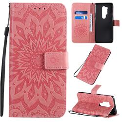 Embossing Sunflower Leather Wallet Case for OnePlus 8 Pro - Pink