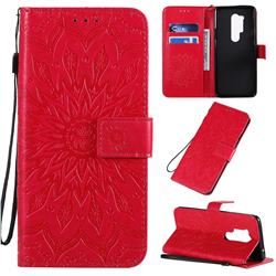 Embossing Sunflower Leather Wallet Case for OnePlus 8 Pro - Red