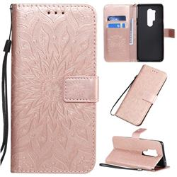 Embossing Sunflower Leather Wallet Case for OnePlus 8 Pro - Rose Gold