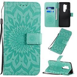 Embossing Sunflower Leather Wallet Case for OnePlus 8 Pro - Green