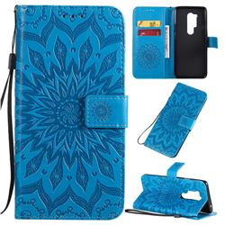 Embossing Sunflower Leather Wallet Case for OnePlus 8 Pro - Blue