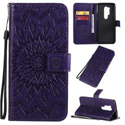 Embossing Sunflower Leather Wallet Case for OnePlus 8 Pro - Purple