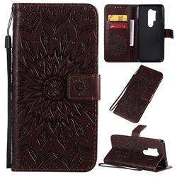 Embossing Sunflower Leather Wallet Case for OnePlus 8 Pro - Brown