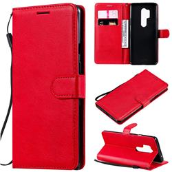 Retro Greek Classic Smooth PU Leather Wallet Phone Case for OnePlus 8 Pro - Red