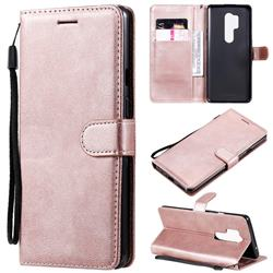 Retro Greek Classic Smooth PU Leather Wallet Phone Case for OnePlus 8 Pro - Rose Gold