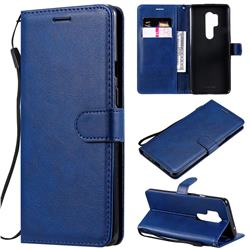 Retro Greek Classic Smooth PU Leather Wallet Phone Case for OnePlus 8 Pro - Blue
