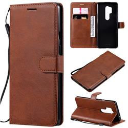 Retro Greek Classic Smooth PU Leather Wallet Phone Case for OnePlus 8 Pro - Brown