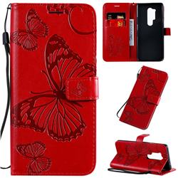 Embossing 3D Butterfly Leather Wallet Case for OnePlus 8 Pro - Red
